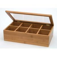 Quality Custom Logo Natural Bamboo Gift Box , Handmade Bamboo Tea Bag Storage Box With Clear Lid for sale