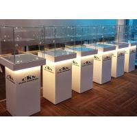 Quality Elegant Wooden Glass Display Cabinets Pre - Assembled Structure With LED Lighting for sale