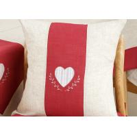 Quality Custom Embroidered Decorative Throw Pillow Covers 100% Linen Heart Pattern for sale