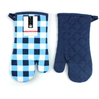 Quality Blue Check Print Canvas Poly Cotton Cheap Custom Microwave Glove Oven Mitt for sale