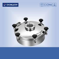 China 400mm Weled Pressure Food Tank Manhole Cover With Flange Sight Glass on sale
