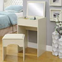 Buy White Storage Desk Home Wood Furniture With Lifted Mirror / 6 Knock Down Shelves at wholesale prices