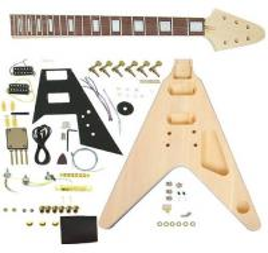 Quality Flying V Style DIY Electric Guitar Kits Semi Finished Guitar Kit AG-FV1 for sale
