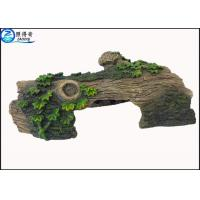 Quality Hollow Log Tree Aquarium Ornament With Green Plants ,  Custom Tropical Fish Tank Decorations for sale