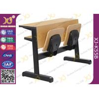Quality Oval Steel Tube Folding College Classroom Furniture / Wood Classroom Table for sale