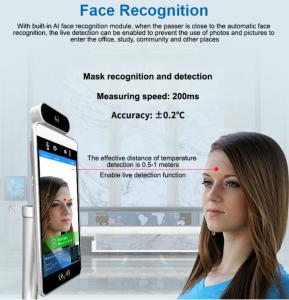 Quality 8 inch Auto Ir Sensor CMOS Face Recognition Thermometers 1280*800 for sale