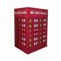Quality Red Fashionable Assemble Cardboard Pallet Display with Hooks for Gift Cards Hanging for sale
