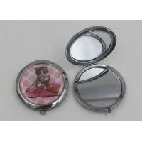 Quality Silver Metal Hand Travel Round Makeup Mirror 2 Sided For Advertising In Supermarket for sale