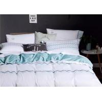 Quality Soft Embroidered Light Blue And White Duvet Cover 4 Pcs For Home / Hotel for sale