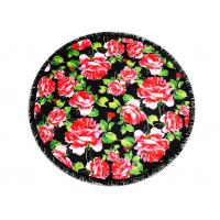 Quality Australian Flowered Bath Towels / Circle Beach Towel Red Rose With Black Tassels for sale