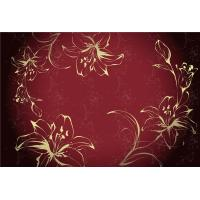 Quality Eco Friendly Bamboo Fiber Modern Decorative Wall Panels Red Flowers Pattern for sale