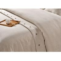 Buy Pure Linen Wooden Buttons Modern Bedding Sets 4Pcs Real Simple Logo Customized at wholesale prices