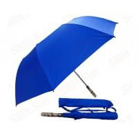 Quality Light Blue Foldable Golf Umbrella Fibreglass Ribs Bamboo Handle 14mm Steel Shaft for sale