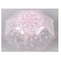 Quality Creative cherry blossom Transparent Rain Umbrella 3 fold female art fresh and lovely cherry for sale