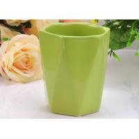 Quality Glazed Ceramic Hexagon green candle holders , Comfortable to Use for sale
