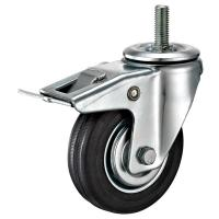 "Quality 4"" Threaded Stem Caster With Total Locking Brake , Soft Rubber Wheel for sale"
