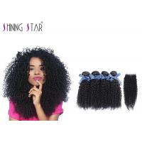 Quality 100 Virgin Curly Unprocessed Hair Bundles With Lace Closure In Natural Black for sale