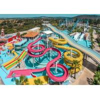 Colorful Fiberglass Swimming Pool Water Slides Durable Playground Equipment