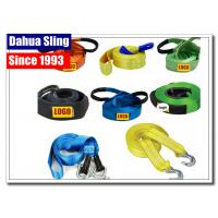 Quality 5cm X 4.5m Vehicle Recovery Strap With Hooks , 5 Ton Load Nylon Tow Strap For Car for sale