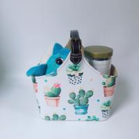 Quality Crane Cactus Design PU Leather Portable Gift Basket with Large Capacity for Travel Storage Toys Wine Food Juice Picnic for sale
