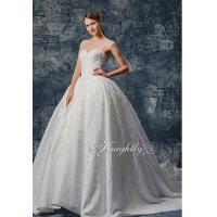 Quality Stapsless Jacquard Satin Lace Applique Wedding Gown for sale