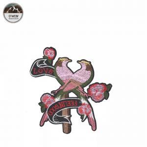 Pink Loving Bird Iron On Patches Elegant Cartoon Animal Design Customized Logo