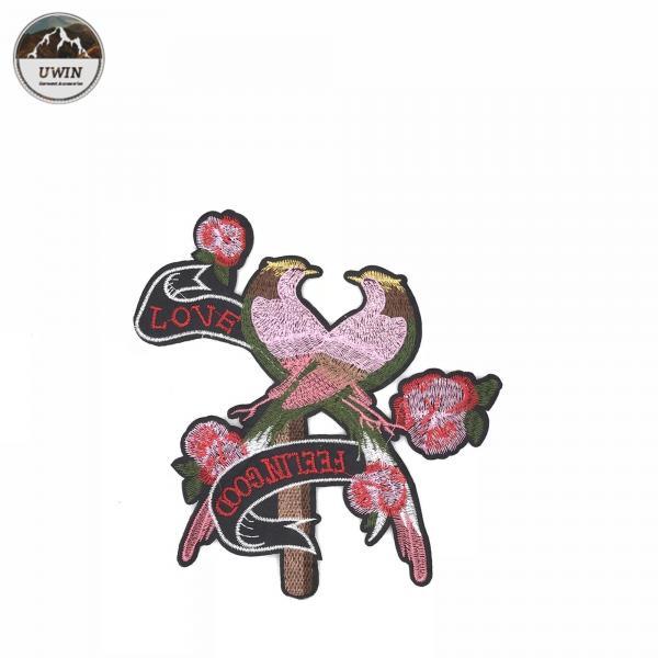 Buy Pink Loving Bird Iron On Patches Elegant Cartoon Animal Design Customized Logo at wholesale prices