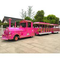 Quality Amusement Park Rides / 60 Passengers Gasoline Tourist Tightseeing Road Trackless Train for sale