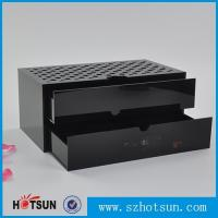 Custom made acrylic storage box cost-effective black acrylic box with two drawer