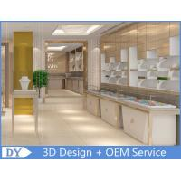 Quality OEM White Store Jewelry Display Cases With LED Light , Jewellery Showroom Counter for sale