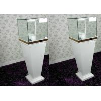 Quality Modern Wood Glass White Exhibition Cabinets , Lockable Jewellery Display Cabinets for sale