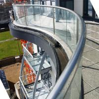 Quality Arched Tempered Glass Railing / Aluminum U Channel Railing / Curved Glass Balustrade for sale