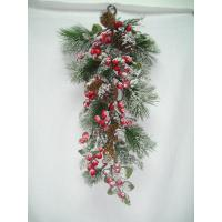 Quality Wall  festival hanging Artificial Decorative Flowers Mistletoe with Pinecones   for sale