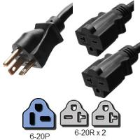 Quality NEMA 6 - 20P 2 Foot Power Cord Splitter 2 x 6 - 20R Legs SJT Jacket Type for sale