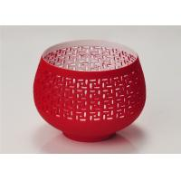 Quality Red Votive Porcelain Candle Holder Bowl / Hollow Ceramic Candle Houses for sale