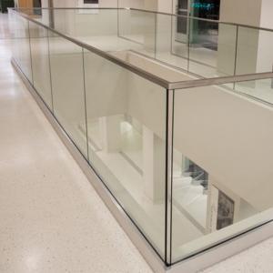 Quality Glass rail simple deck railing in aluminum base shoe design for sale