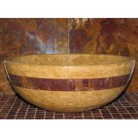 Quality Inca Gold Marble Kitchen Bathroom Sinks With Multi Red Onyx Stone Mosaic Inlay for sale