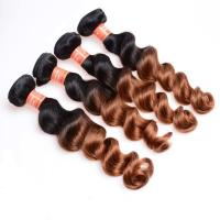 Buy Soft And Silky Body Wave Human Hair Ombre Extensions , Black And Blonde Dip Dye Hair Extensions at wholesale prices