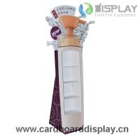 Quality purple promotional 4 layers cardboard floor display for advertising for sale