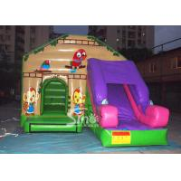 Quality Commercial backyard jungle theme kids inflatable jumping castle with slide made of best pvc tarpaulin for sale