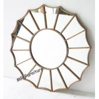 China Gold Metal And Mirror Wall Decor , Gold Metal Frame Abstract Mirror Wall Art on sale