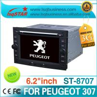 Quality 3G 6.2 Inch Digital LED Peugeot DVD GPS With Stereo /  RDS Receiver For PEUGEOT 307 for sale