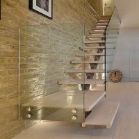 Quality Customized Single Stringer Wood Treads Floating Stairs / Straight Staircase / Glass Stairs for sale