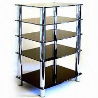 Quality Audio/Video Equipment Rack with 5 x 8mm Thick Tempered Glass Shelves for sale
