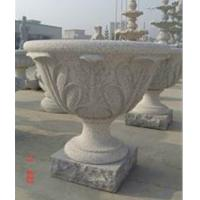 Quality Flowerpot with Leaf Status, Grey Granite Flower Bed for sale