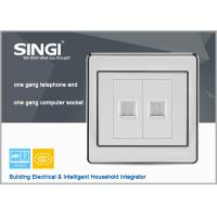 Quality Stainless steel one gang TEL one gang Computer   wall socket telephone and computer socket for sale