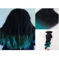 Quality Dark Roots Green Ombre Human Hair Extensions /  Brazilian Hair Weave for sale
