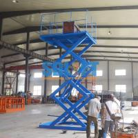 China Blue Color Hydraulic Freight Elevator Goods Lift For Warehouse , 2 Years Warranty on sale
