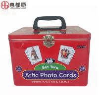 Quality Large Printed Custom Rectangular Playing Card Tin Box with Hinged Lid, gift tin box with handle, CMYK tin cans with food for sale