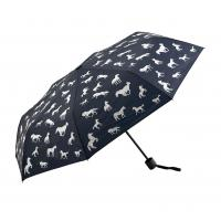 Quality Silkscreen Storm Proof Fold Away Umbrella Anti Sun Rays Black Metal Frame / Shaft for sale